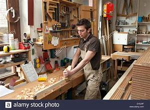 Duesseldorf, Germany, apprentice carpenter in a carpentry