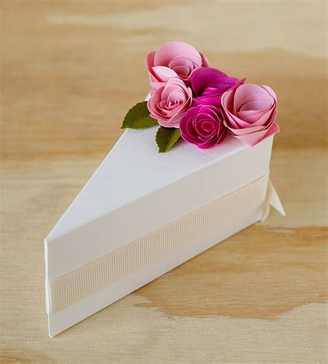 cream paper cake slice favor boxes wedding decor guest