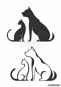 """""""Silhouettes of pets, cat dog"""" Stock image and royalty ..."""