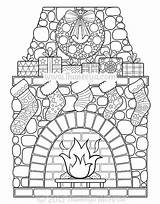 Coloring Christmas Thaneeya Sheets Mcardle Pattern Fireplace Brick Pages Slideshow Template Fullsize sketch template