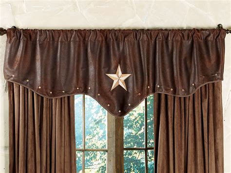 western curtains western valances with star starlight trails chocolate star valance new home pinterest