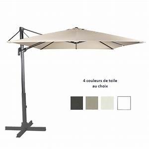 Parasol Avec Pied : parasol 300x300 cm alu mat lateral noir avec inclinaison avec pied en option par c3005020p one ~ Teatrodelosmanantiales.com Idées de Décoration