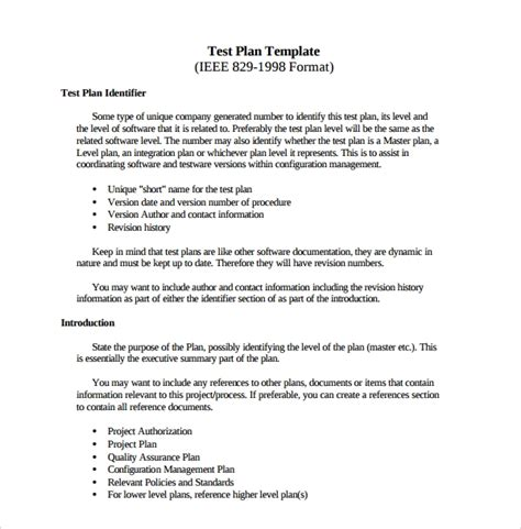 sample software test plan template   documents