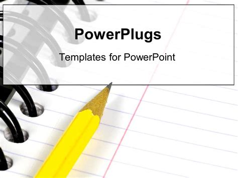 powerpoint template  yellow pencil writing   notebook