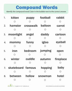 compound words quiz compound words and spelling worksheets