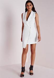 Missguided Crepe Sleeveless Blazer Dress White in White | Lyst