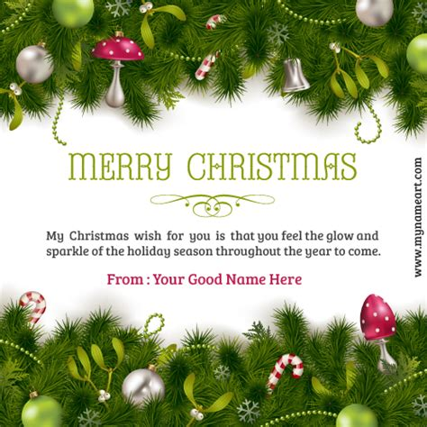 write name merry christmas ornaments decoration colorful card wishes greeting card