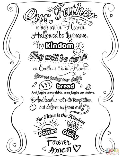 prayer coloring pages lord s prayer doodle coloring page free printable