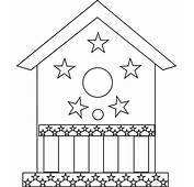 Bird House Decorated With Stars Coloring Pages  Best