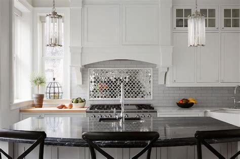 mirrored arabesque kitchen tiles transitional kitchen
