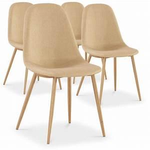 Lot De 4 Chaises Scandinaves : chaises scandinaves karl tissu beige lot de 4 pas cher scandinave deco ~ Teatrodelosmanantiales.com Idées de Décoration