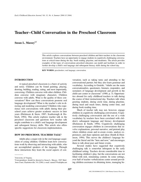 pdf child conversation in the preschool classroom 683 | largepreview