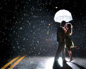 Dancing Couples in Love Rain