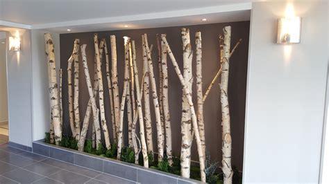 deco mur cuisine troncs de bouleaux signature vegetale