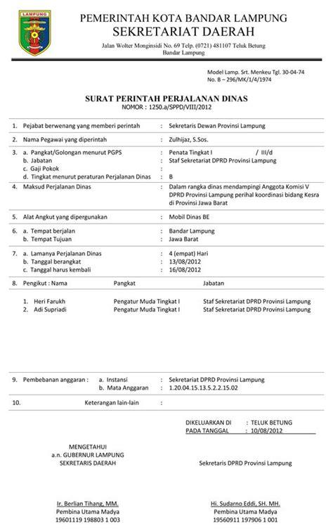 Contoh Surat Tugas Perjalanan Dinas by Contoh Surat Perintah Perjalanan Dinas Sppd