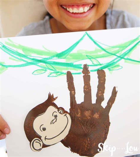 curious george handprint monkey craft skip   lou