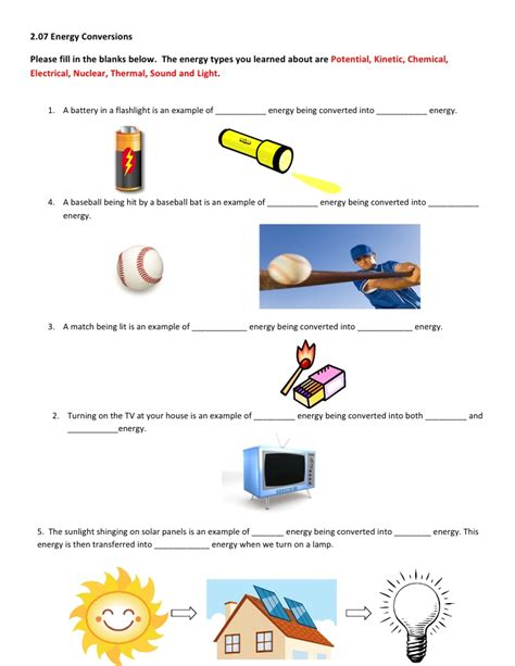types of energy worksheet vintagegrn 4th grade science