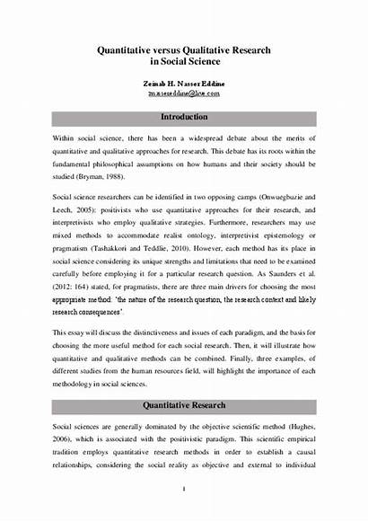 Quantitative Qualitative Research Social Science Pdf Academia