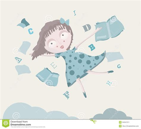 girl   sky  books  alphabet stock illustration