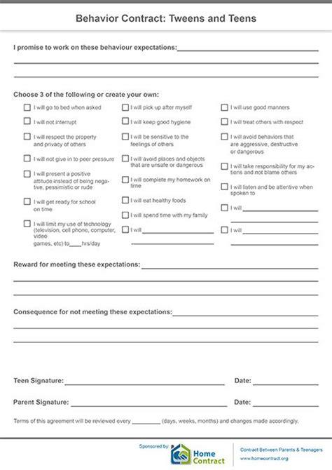 behavior contract tweens  teensinteresting