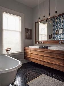idee deco salle de bain bois 40 espaces cosy et chics qui With idee deco meuble bois