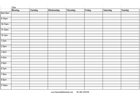 time chart template time table templates galway maths grinds
