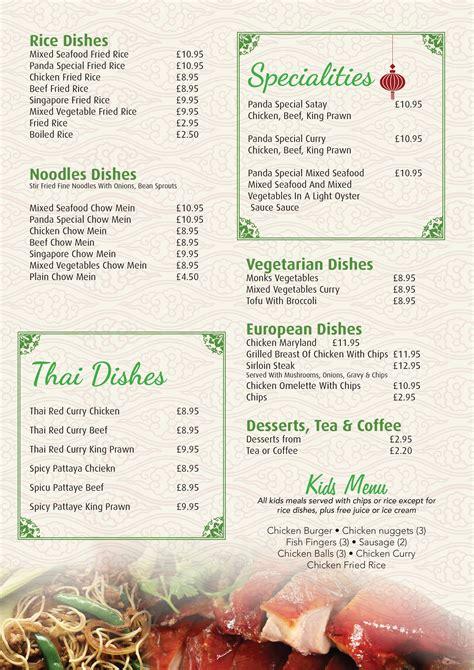 cuisine a la carte a la carte menu panda cuisine