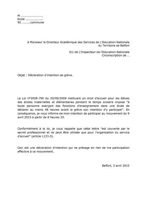 modèle lettre d intention modele lettre intention de greve document