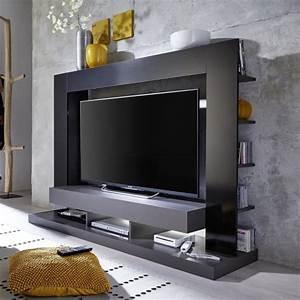 Meuble Tv Suspendu Led : tt05 meuble tv mural avec led contemporain gris mat et noir brillant l 164 cm achat vente ~ Melissatoandfro.com Idées de Décoration