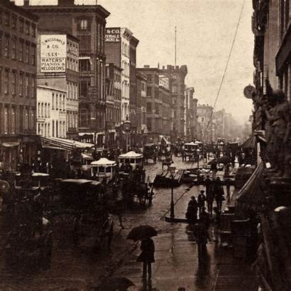 Broadway 1860s York Rain Amazing 1860 Stereograph