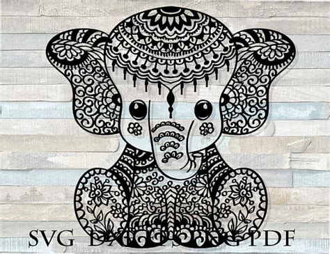 All the svg files are perfect and easy to use with all the cutting & printing machines! Elephant mandala svg / zentangle elephant svg / mandala