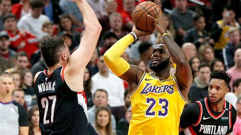 James scores 28 points, Lakers defeat Blazers 114-110 ...