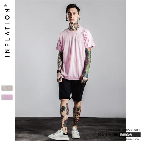 pink  shirt men  summer hip hop letter printed
