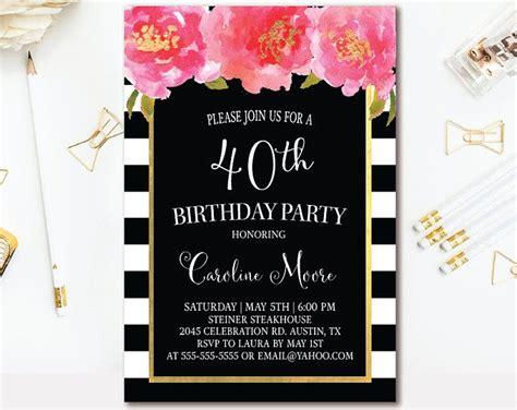 black white stripe birthday invitation black pink