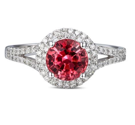 carat  cut red ruby  diamond halo engagement