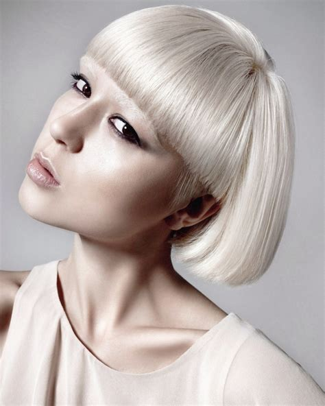 White Hairstyles by White Hair Cut Into A Bob With Bangs