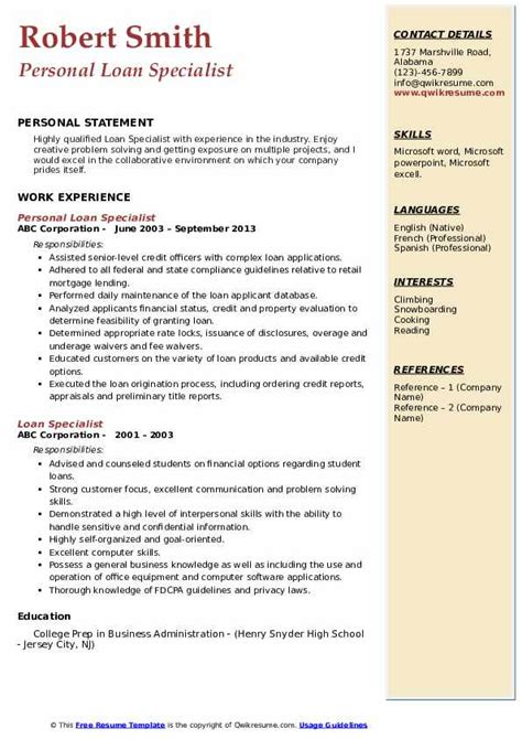 loan specialist resume samples qwikresume