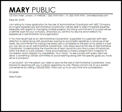 administrative coordinator cover letter sle livecareer