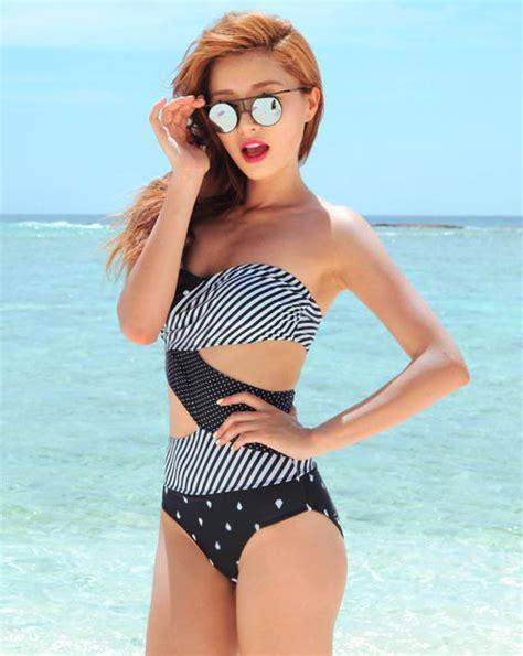stylenanda asymmetric pattern diamond bikini kstylick