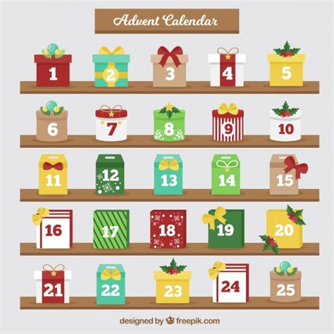 christmas advent calendar template psd advent calendar with gift boxes vector free download