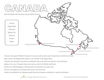 map of canada worksheets and geography