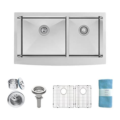 kitchen sink with cabinet zuhne turin 33 inch farmhouse apron front 60 40 6040