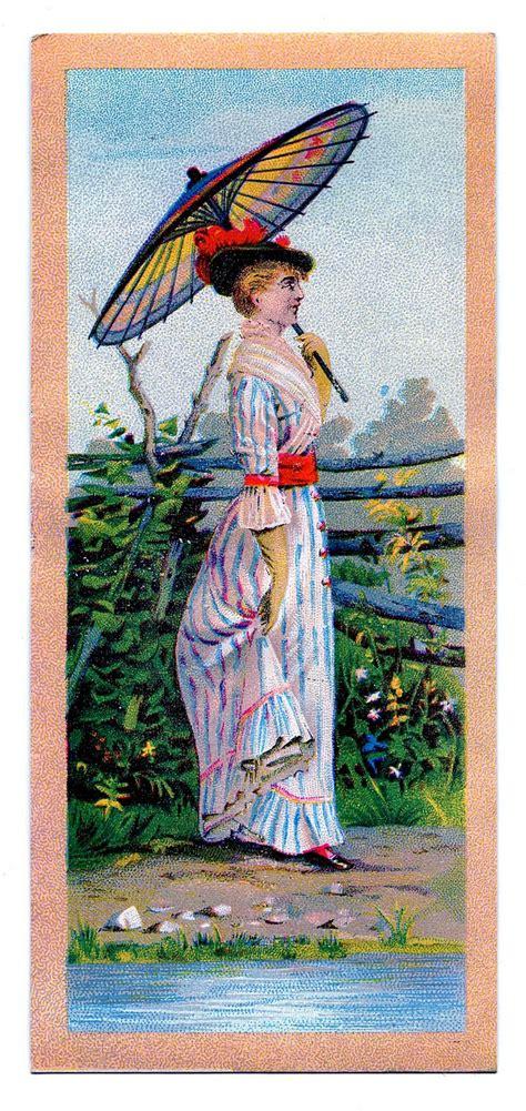 vintage clip art victorian lady  parasol