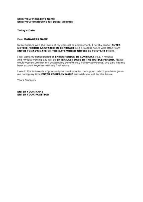 4 week notice resignation letter resume template exle