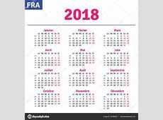 Календарная сетка 2018 Французские календарь 2018