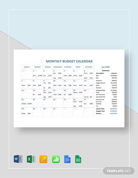 sample budget calendars  google docs google