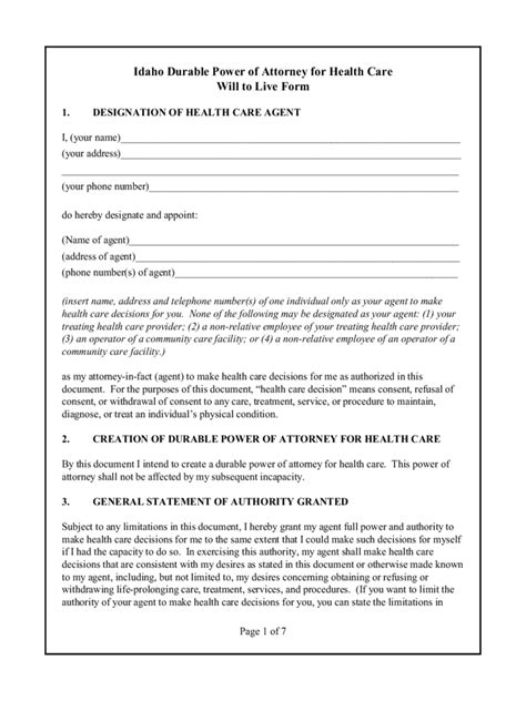 idaho power  attorney form  templates   word