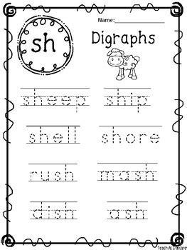 10 digraph words tracing worksheets kdg 1st grade ela and
