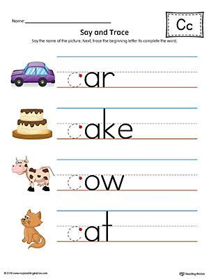what color starts with c say and trace letter c beginning sound words worksheet