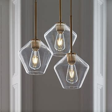 sculptural glass geo  light chandelier small west elm